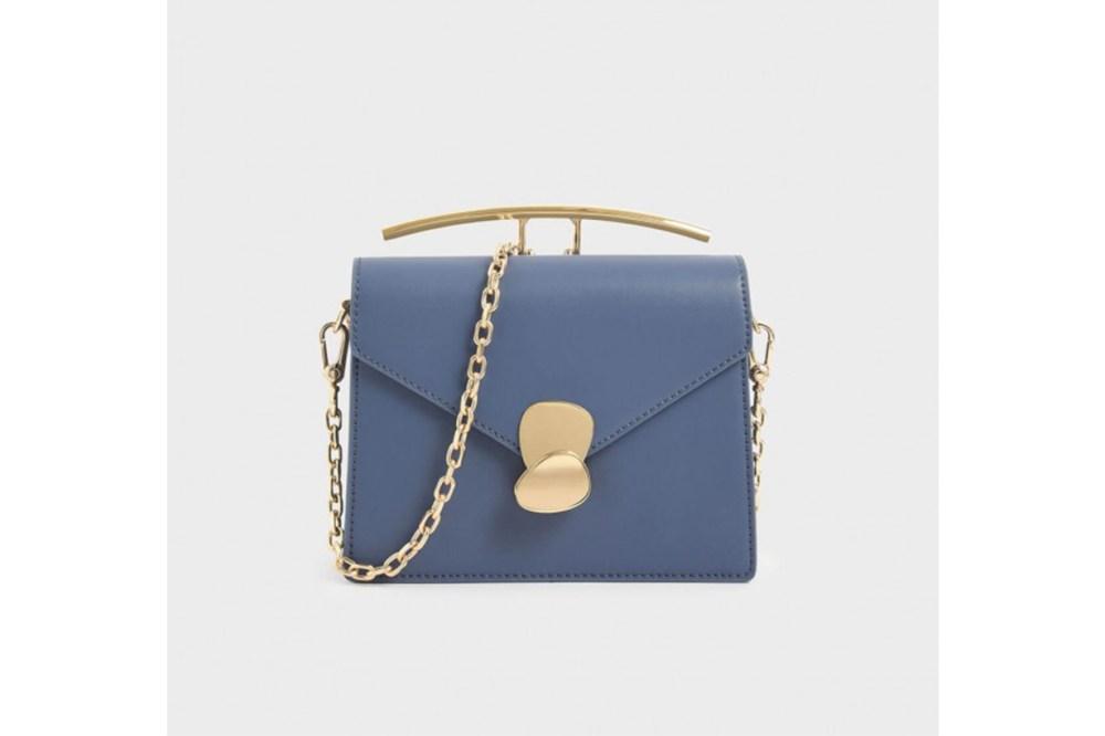 Metallic Push Lock Top Handle Bag
