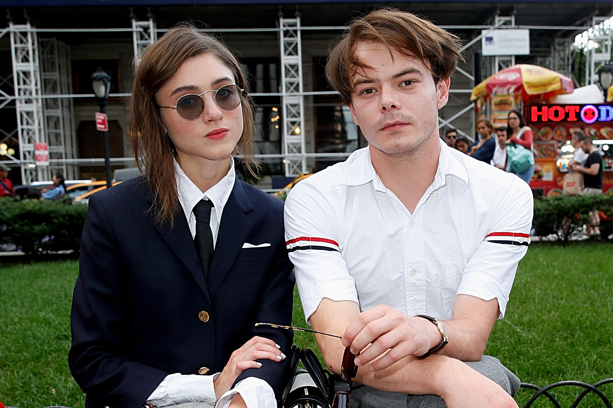 Game of Thrones Maisie Williams Met Stranger Things Natalia Dyer and Charlie Heaton at Thom Browne's NYFW Show