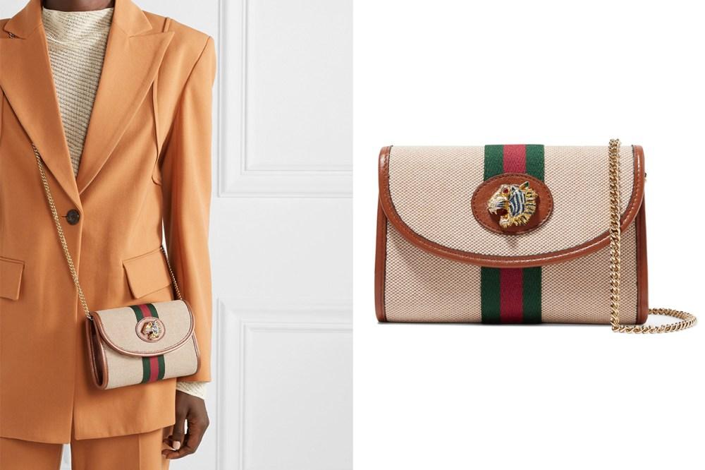 Rajah Mini Embellished Leather-Trimmed Canvas Shoulder Bag