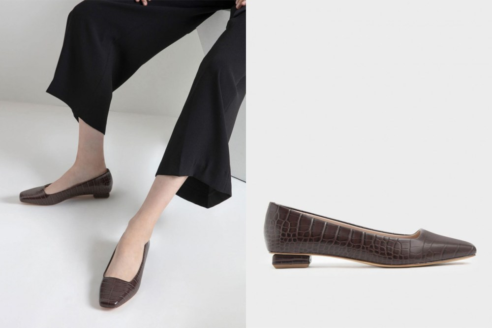 Textured Square Toe Ballerina Flats
