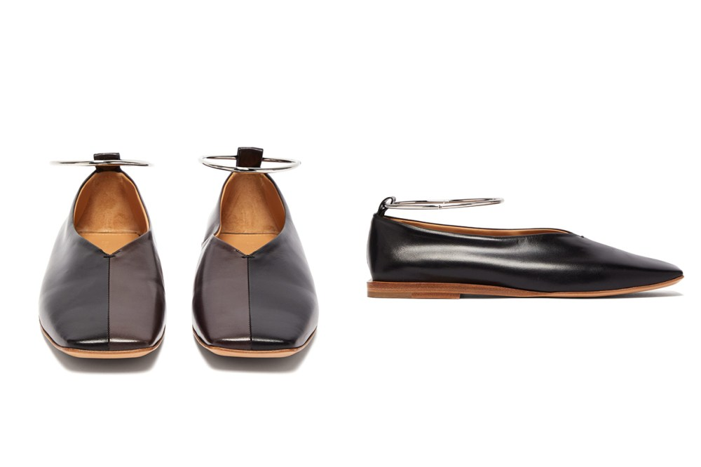 Two-Tone Square-Toe Leather Ballet Flats