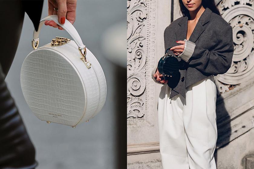 Fashion Week Street Snap Aspinal of London Hat Box Handbag