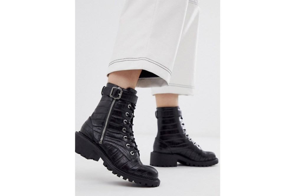 ASOS DESIGN Anya Hardware Lace Up Boots in Black Croc