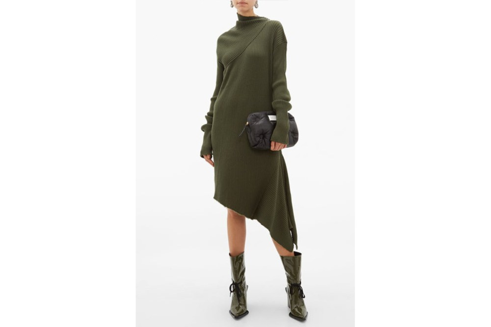 Asymmetric Ribbed Wool Dress