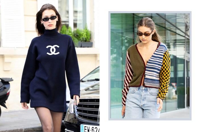 Gigi 與 Bella 也愛開胸毛衣!兩種風格的穿法,女生快點學起來
