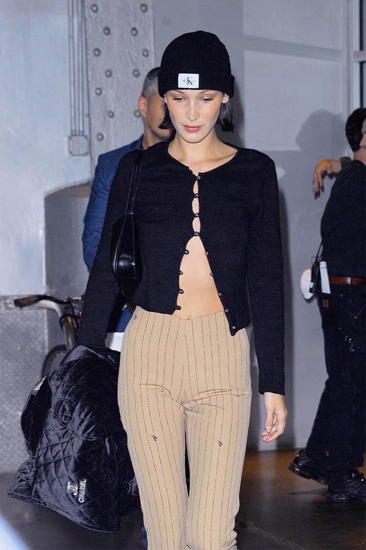 Bella Hadid Wears Fall's Biggest Cardigan Trend