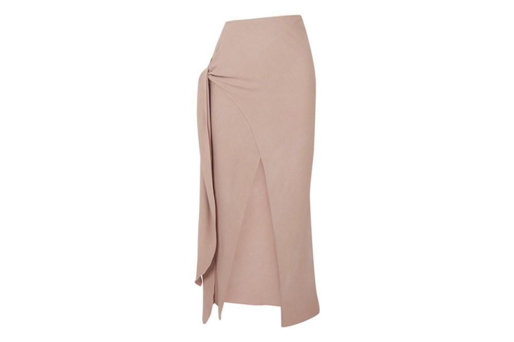 Celia Knotted Crepe Midi Skirt