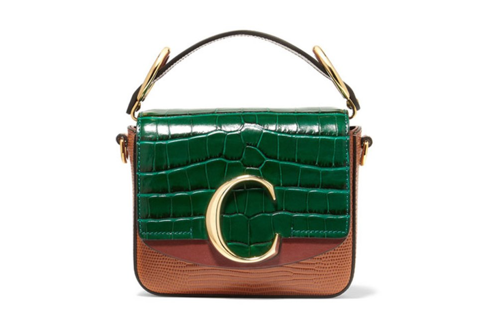 Chloé C Mini Croc and Lizard-Effect Leather Shoulder Bag