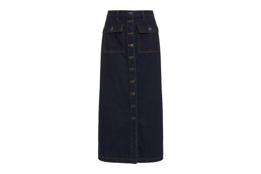 Current/Elliott Surfview Button-Embellished Denim Midi Skirt