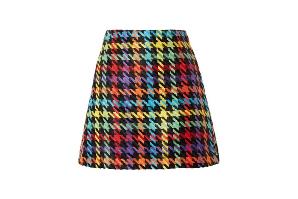 Darma Houndstooth Tweed Mini Skirt