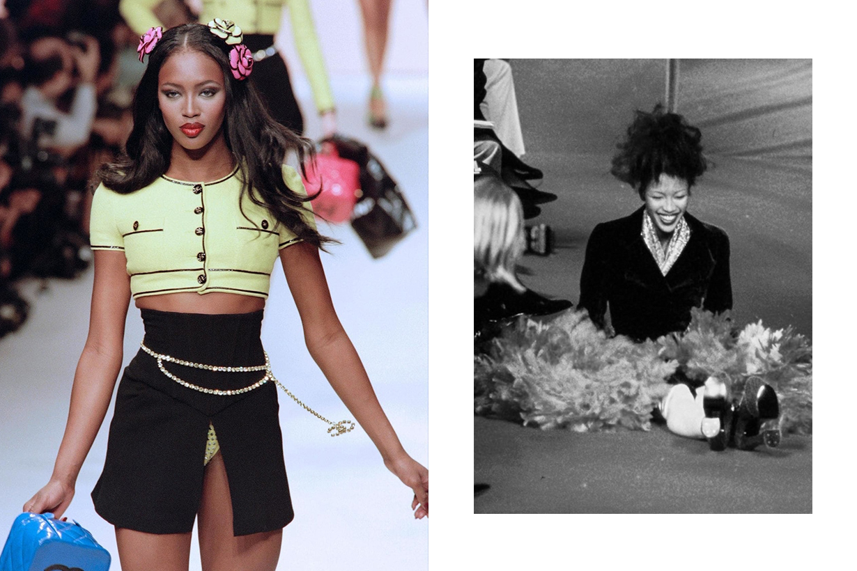 Naomi campbell fall on the runway after vivienne westwood slip
