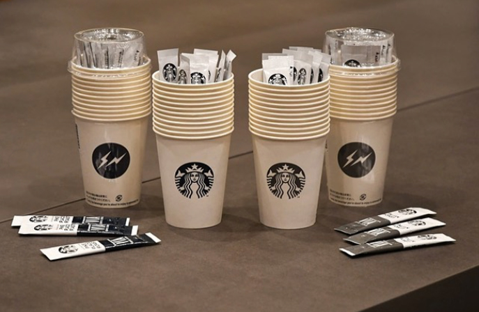 fragment design starbucks japan collaboration hot coffee essence and paper cup