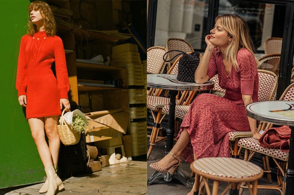 Pink and Red Sweater Dresses French Style