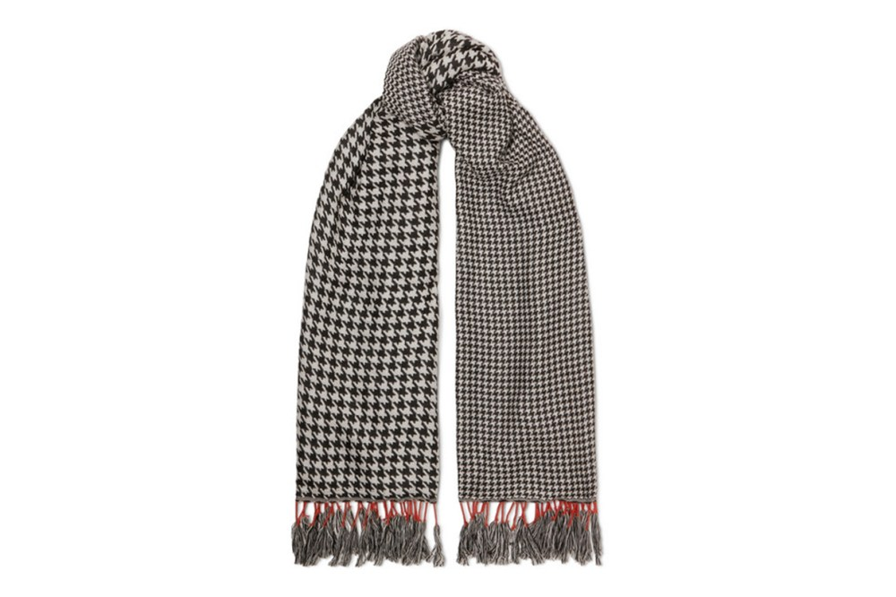 Fringed Houndstooth Woven Scarf
