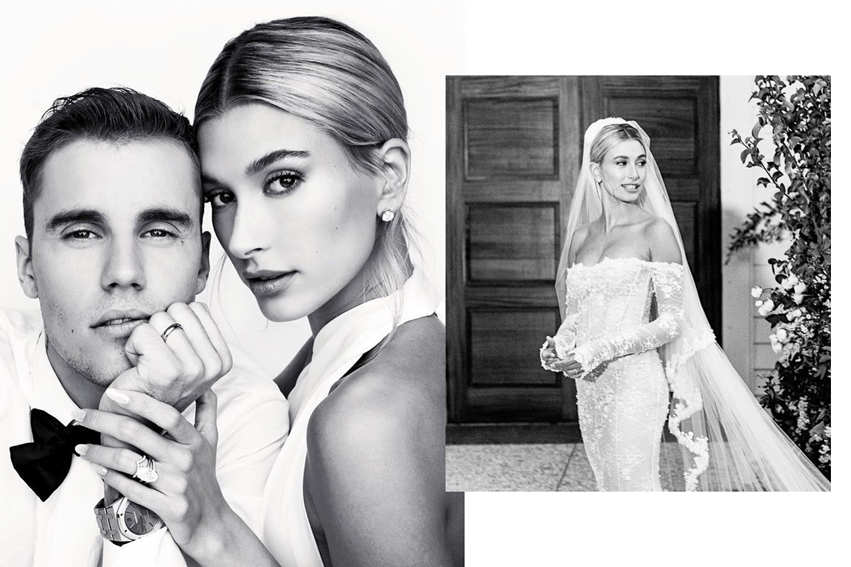 Hailey Bieber Justin Bieber Wedding Married wedding dress Off White Virgil Abloh Till death do us part veil celebrities bridal style brides style