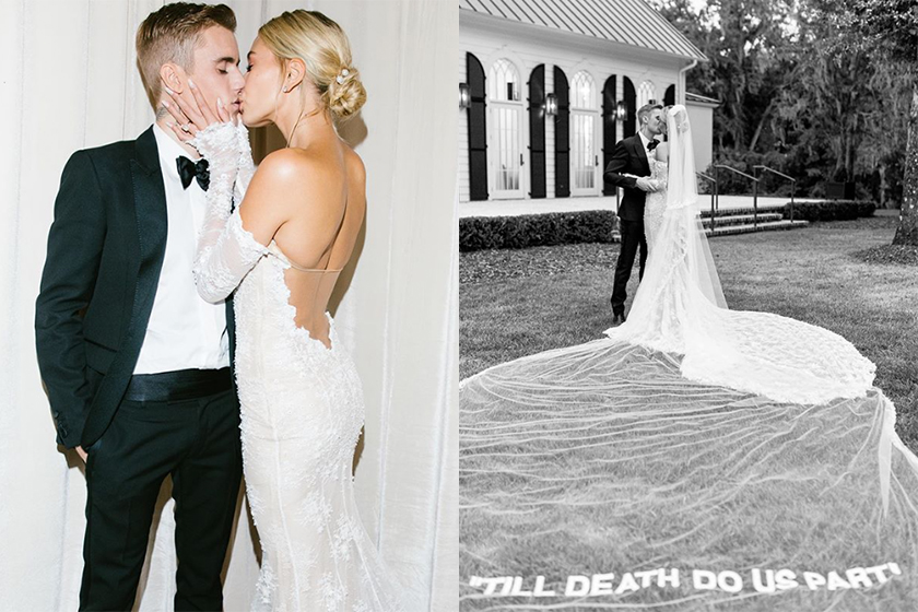 hailey bieber wedding veil typo