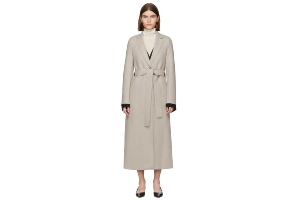Harris Wharf London Off-White Pressed Wool Belted Coat