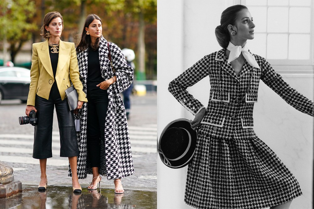 Model wearing Chanel Houndstooth Suit 1969