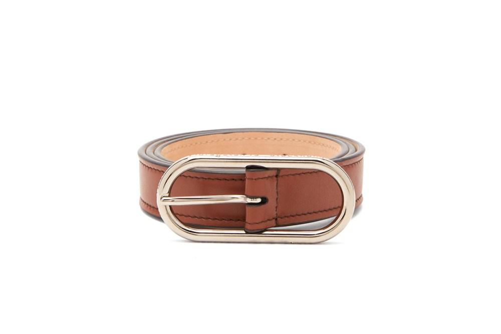 Masculine Logo-Buckle Leather Belt