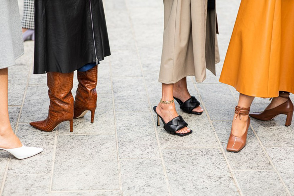 Midi Skirt with Boots and Mules Street Style