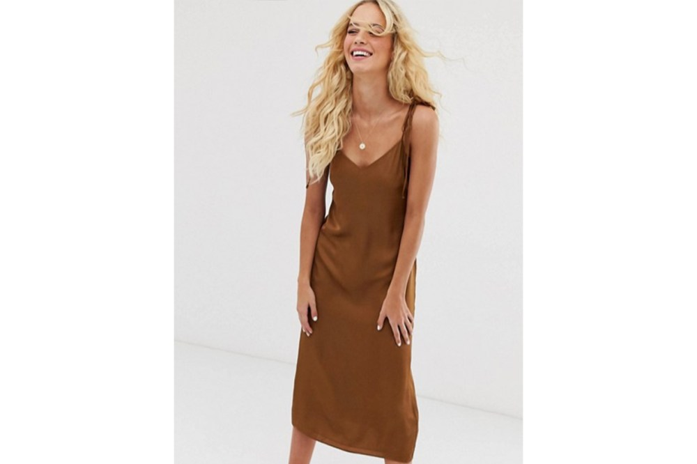 & Other Stories Slip Dress with Tie Shoulder Details in Brown