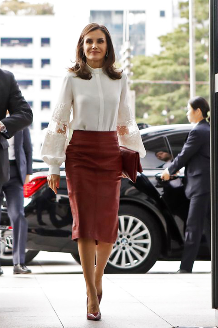 Queen Letizia of Spain in Hugo Boss Red Leather Skirt