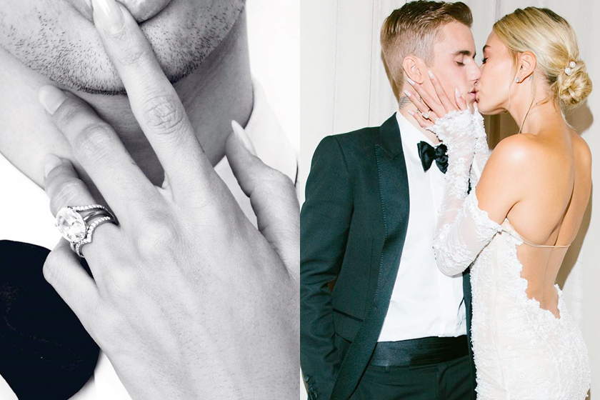 hailey bieber wedding ring tiffany&co. justin mix match
