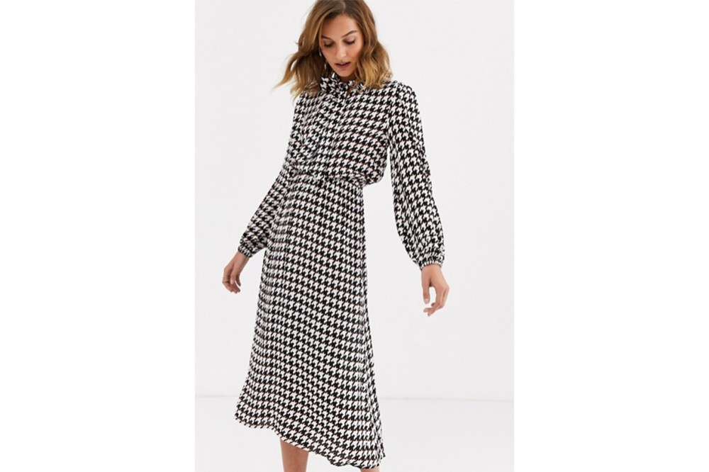 River Island Midi Dress with Pussybow in Dogtooth