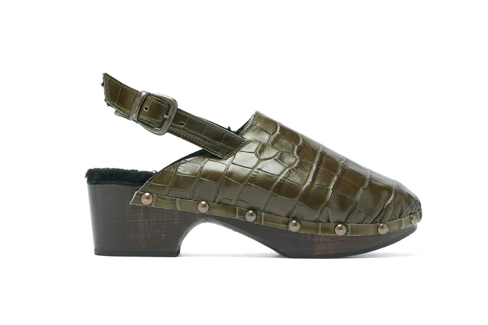 Ruka Crocodile-Effect Leather and Shearling Clogs