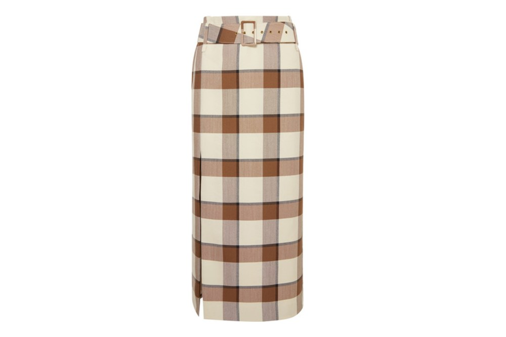 Simone Belted Checked Wool-Blend Piqué Midi Skirt