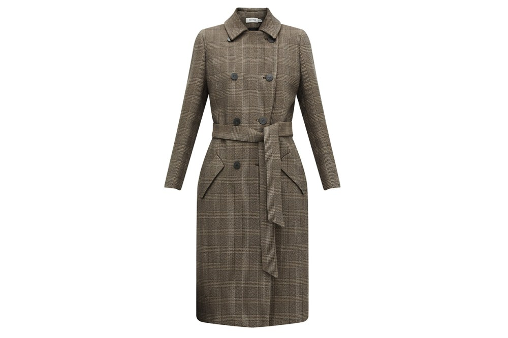 Sullivan Checked Double-Breasted Cotton-Blend Coat
