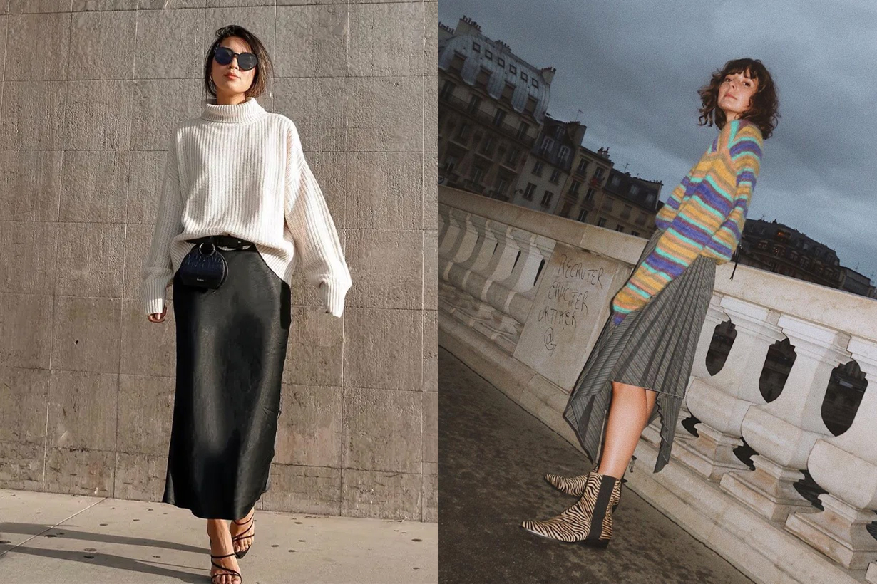 How to Wear Skirt With Sweater in Winter