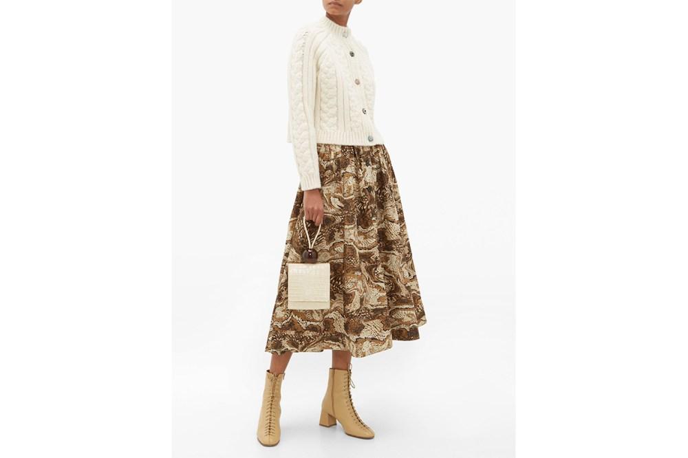 Tiger's Eye-Print Button-Down Cotton Midi Skirt