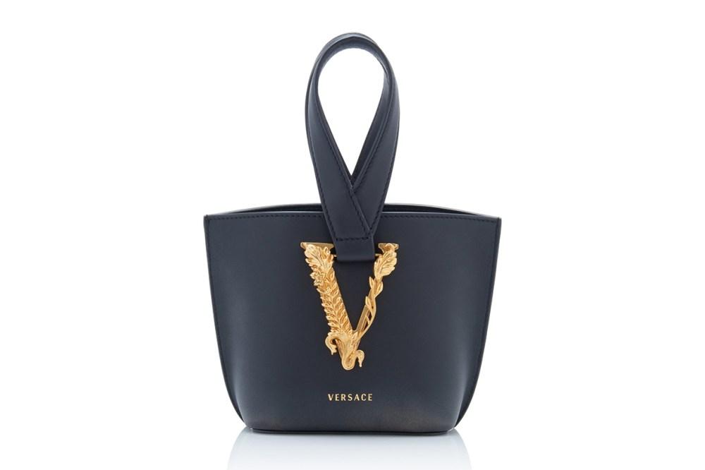 Versace Tribute Leather Loop Top Handle Bag
