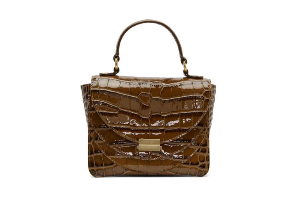 Wandler Brown Croc Mini Luna Top Handle Bag