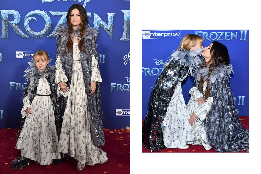 Frozen 2 Selena Gomez Gracie Teefey Red Carpet Twin Style