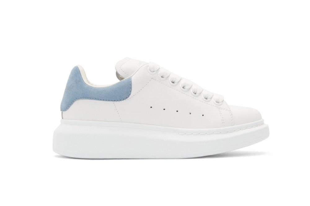 Alexander McQueen White & Blue Oversized Sneakers