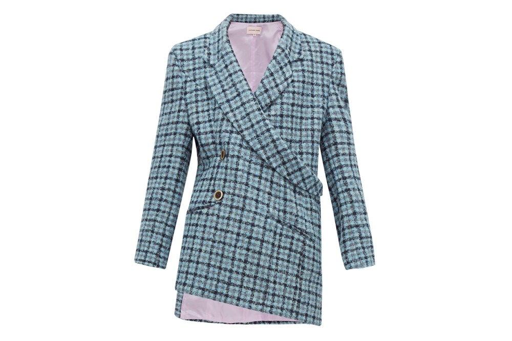 Asymmetric Double-breasted Checked Tweed Blazer