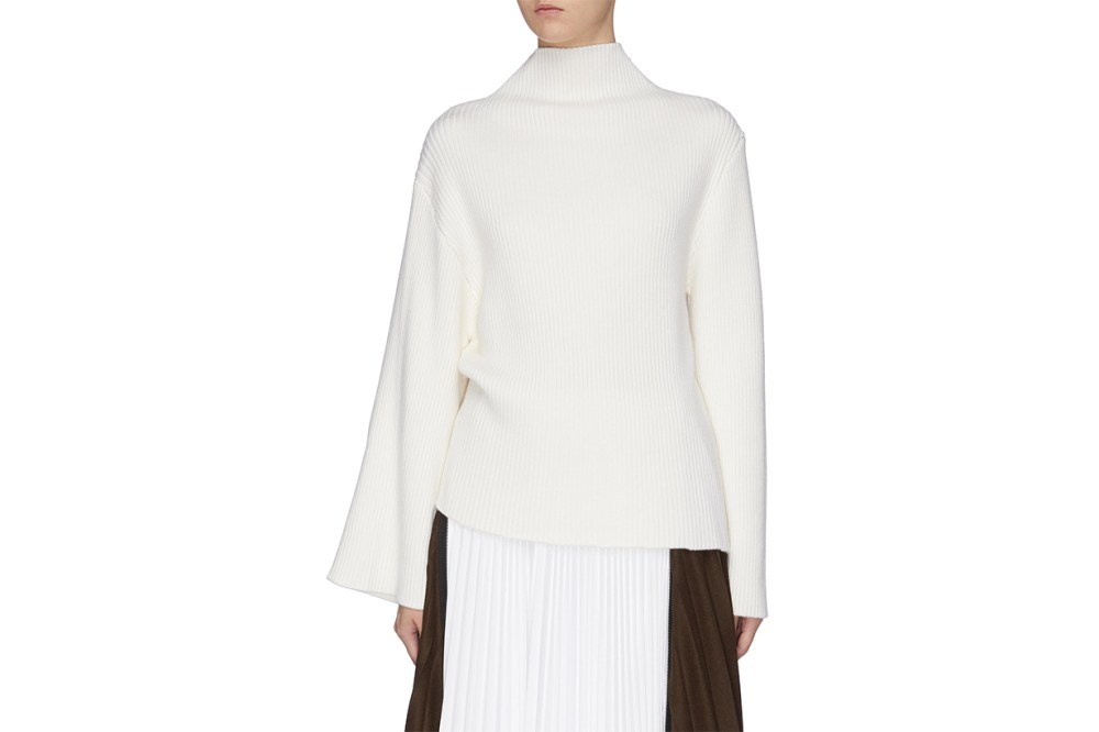 Asymmetric Sleeve Wool Rib Knit Turtleneck Sweater