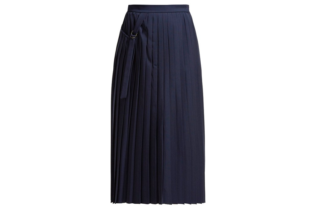Beck Pleated Wool Wrap Skirt
