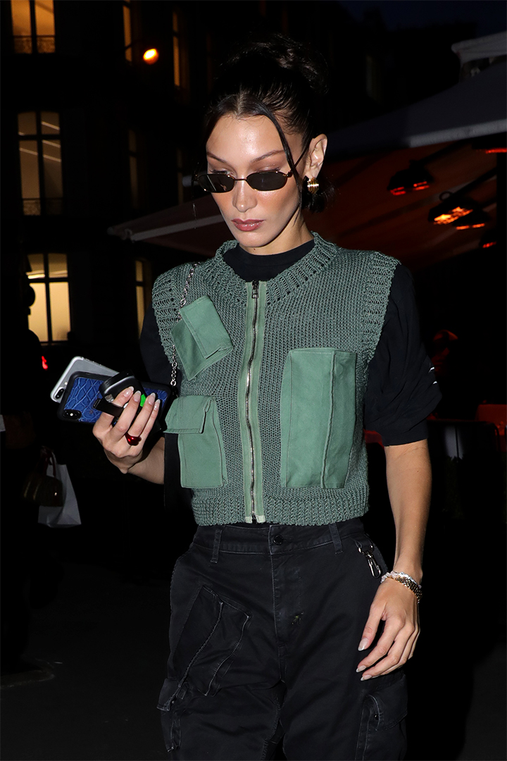Bella Hadid Takes the Utility Vest to the Extreme