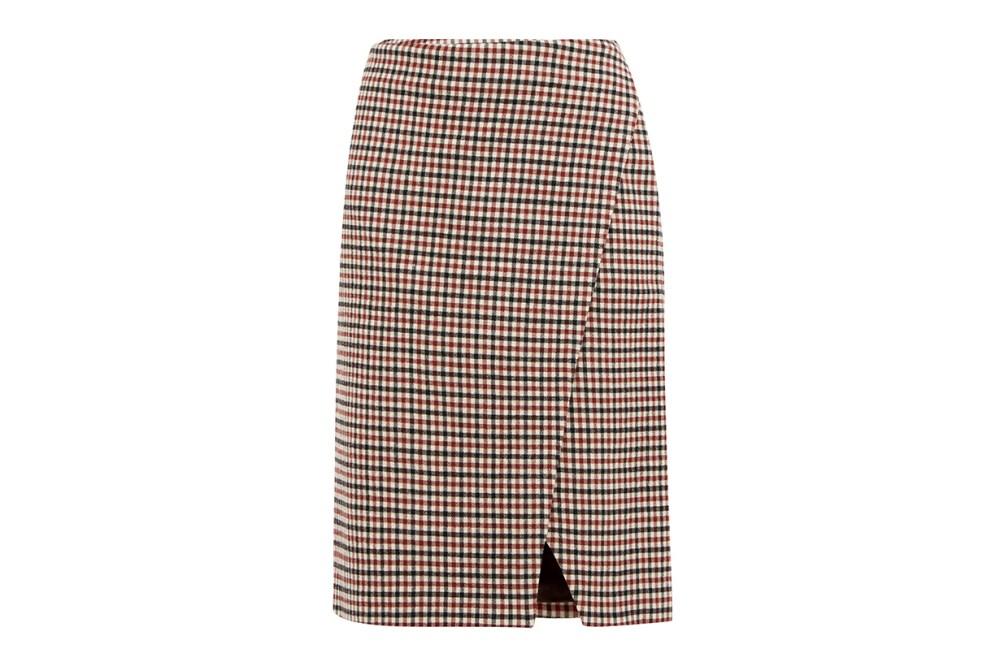 Cody Gingham Wool-blend Wrap Skirt