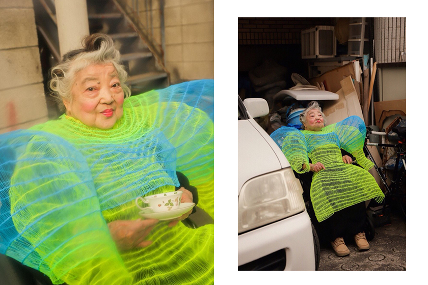 seiran tsuno japanese designer fashion 3d digital pen dresses grandmother