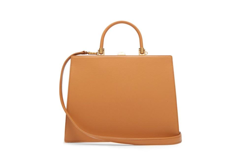 Frame Top-Handle Leather Bag