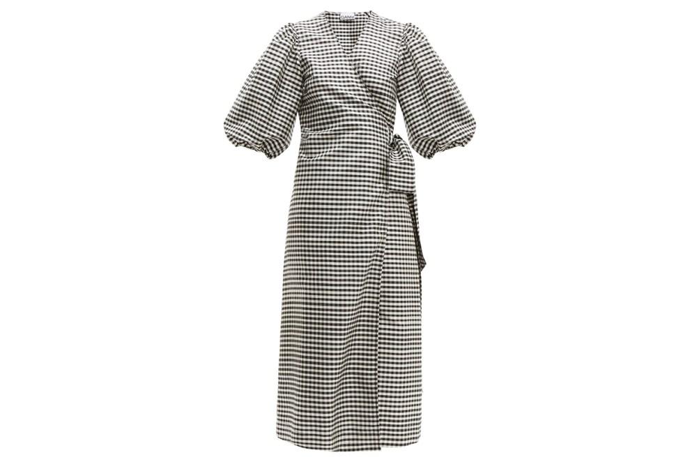 Gingham Silk-crepe Wrap Dress