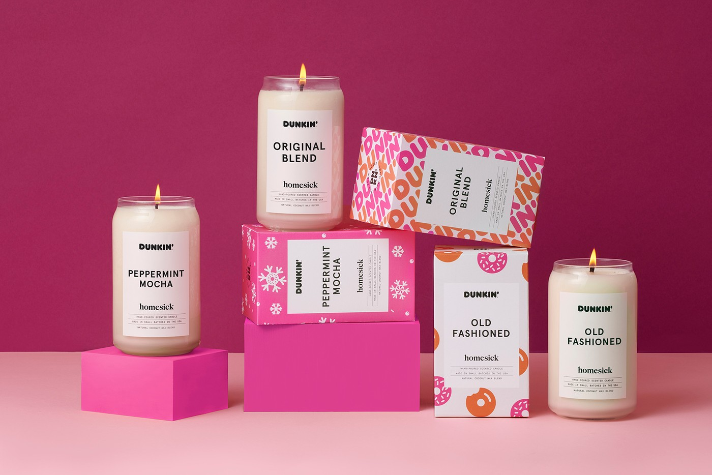 dunkin donuts homesick candle collection coffee peppermint mocha