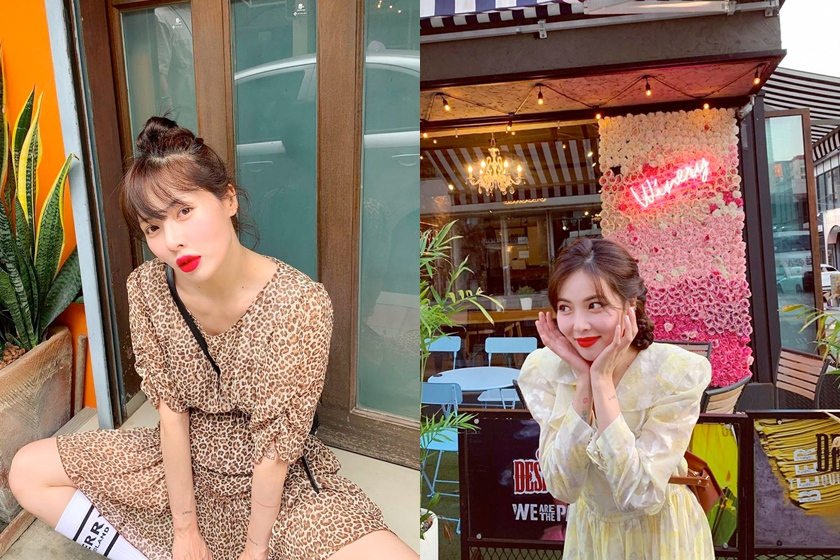 hyuna makeup process products lipstick base cushion highlighter