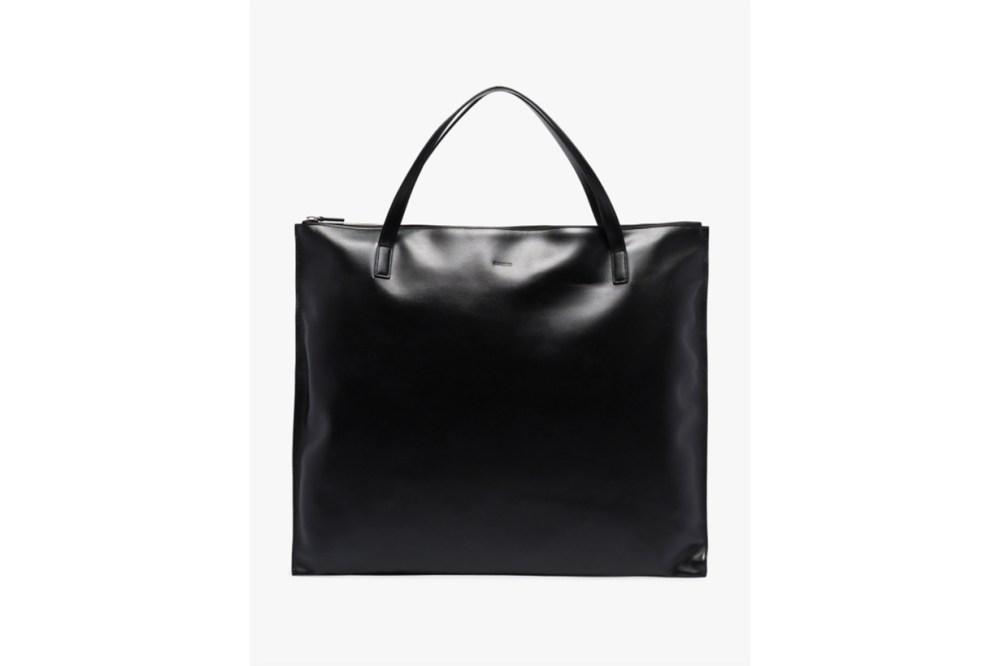 Jil Sander Black Medium Square Leather Tote Bag
