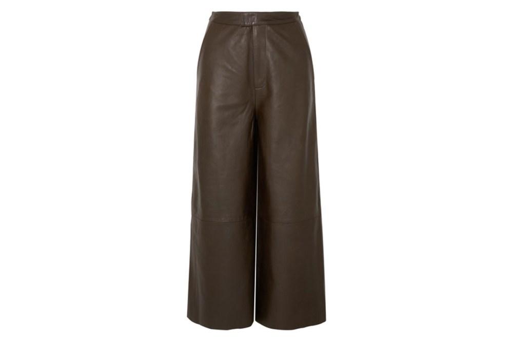 Manu Cropped Leather Wide-leg Pants