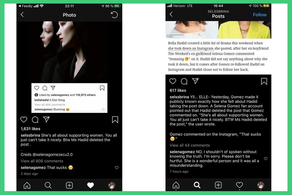 Selena Gomez  Bella Hadid The Weeknd Love Relationship Breakup Instagram comments Stunning That Sucks Girls women